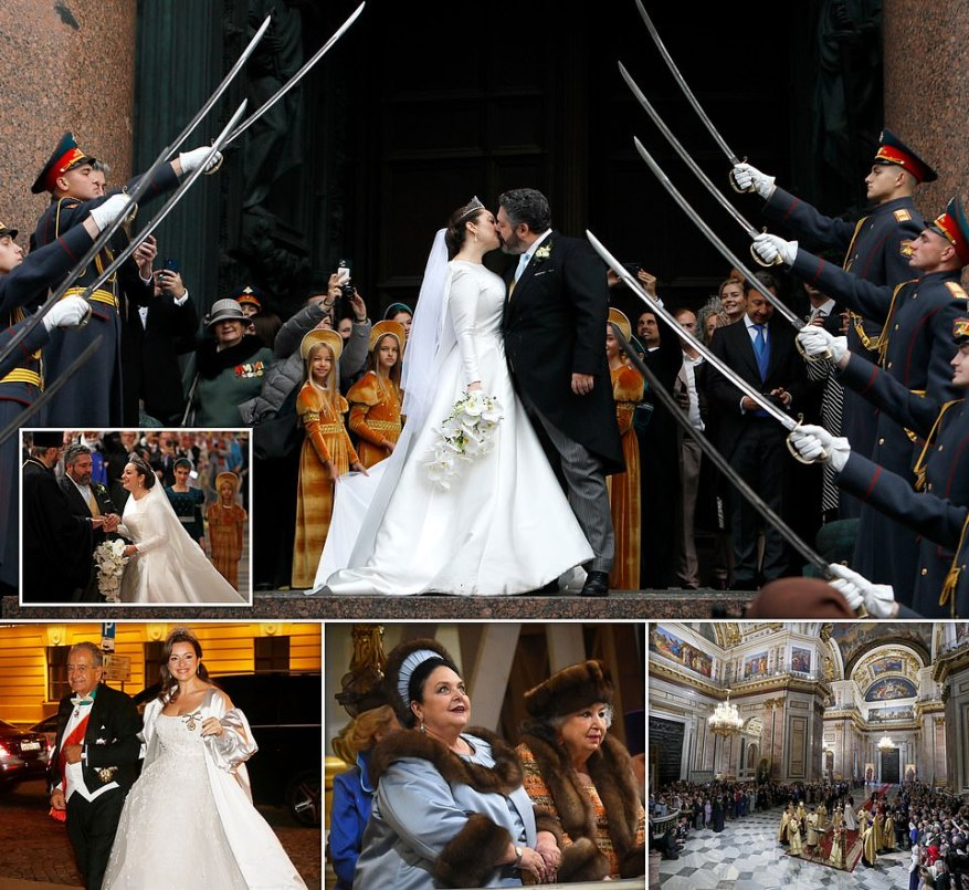 Russia held its first royal wedding since the 1917 Bolshevik revolution toppled the Romanov monarchy, with royals from across Europe attending the lavish ceremony on Friday. The Russian Grand Duke George Romanov, 40, announced his engagement to his long term Italian girlfriend Rebecca Bettarini, 39, after a Christmas proposal and, yesterday, the couple said their vows at the Saint Isaac's cathedral in the former imperial capital Saint Petersburg in the presence of dozens of royals.