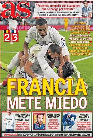 AS describió la potencia de fuego francesa como 'aterradora' antes de su choque final contra España el domingo