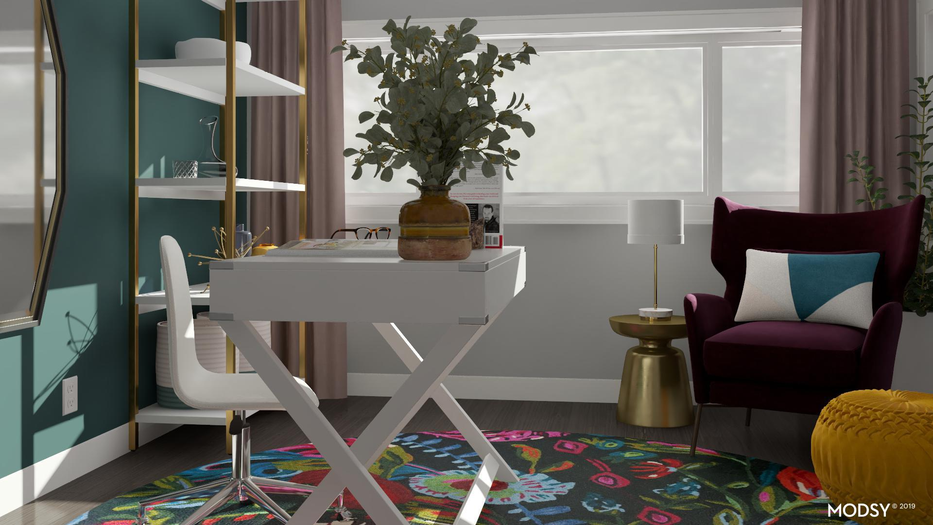 Mod Jewel Tone Accent Chair In Feminine Office Mid Century Modern Style Home Office Design Ideas