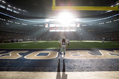 An overall, general view of the action is seen during an NFL football game between the New England Patriots and Dallas Cowboys at AT&T Stadium on Sunday, October 11, 2015 in Arlington, Texas. (Peter Read Miller via AP)