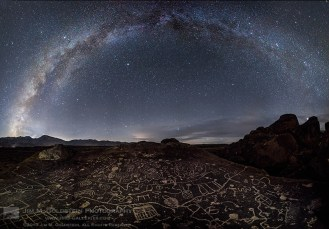 Petroglyphs in the volcanic tablelands of the Owens Valley under the Milky Way