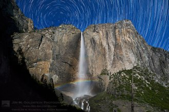 Moonbow in Upper Yosemite Falls with Star Trails over both Upper and Lower Yosemite Falls