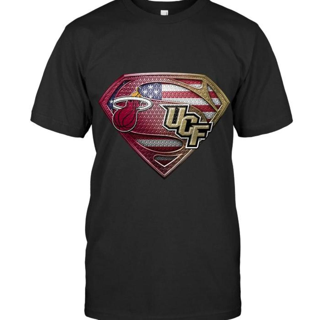 Miami Heat And Ucf Knights Superman American Flag Layer Shirt