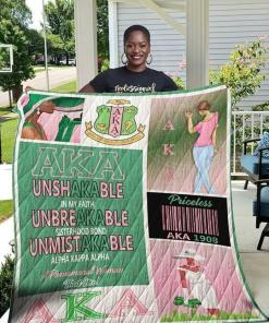 Aka Unshakable In Faith Unbreakable Sisterhood Bond Unmistakable Alpha Kappa Alpha Quilt Blanket Quilt Blanket