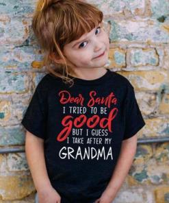 Dear Santa I Tried To Be Good But I Guess I Take After My Grandma Kids T Shirt