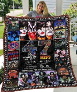 47 Years Of Kiss 1973 2020 Members Signatures Thank You For Memories Quilt Blanket