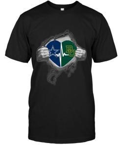 Dallas Cowboys Baylor Bears Love Heartbeat Ripped Shirt