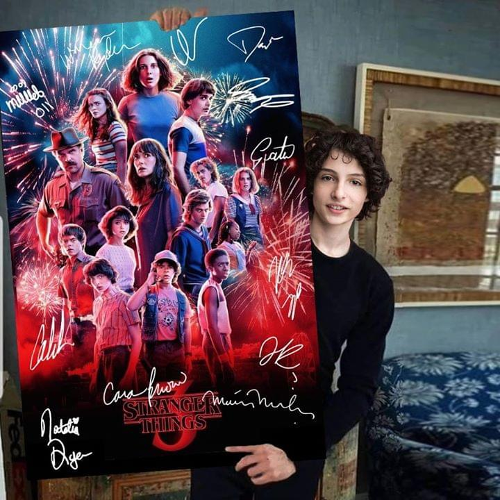 stranger things 3 all cast firework signed poster canvas
