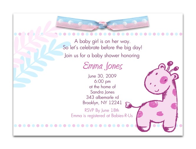 Invitation Wording Baby Showers