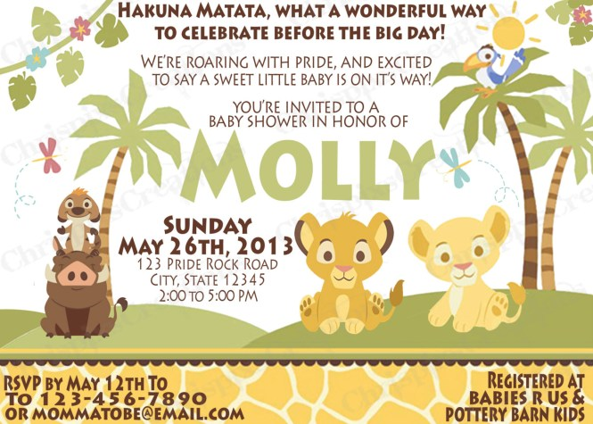 Lion King Baby Shower Invitations Party
