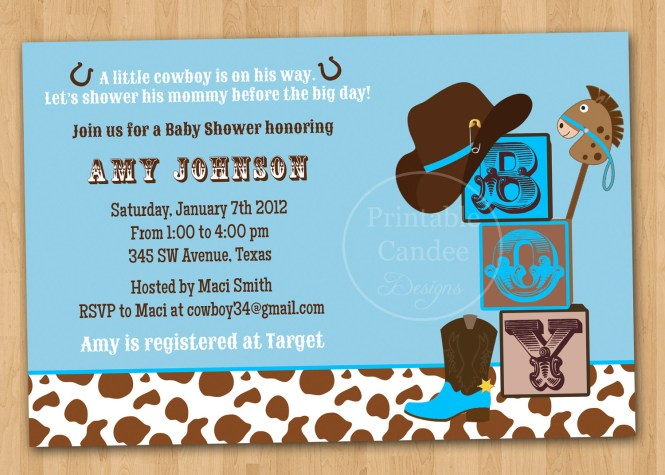 Cowboy Baby Shower Invitations Templates Showers Design