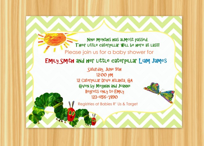 Hungry Little Caterpillar Baby Shower Invitations