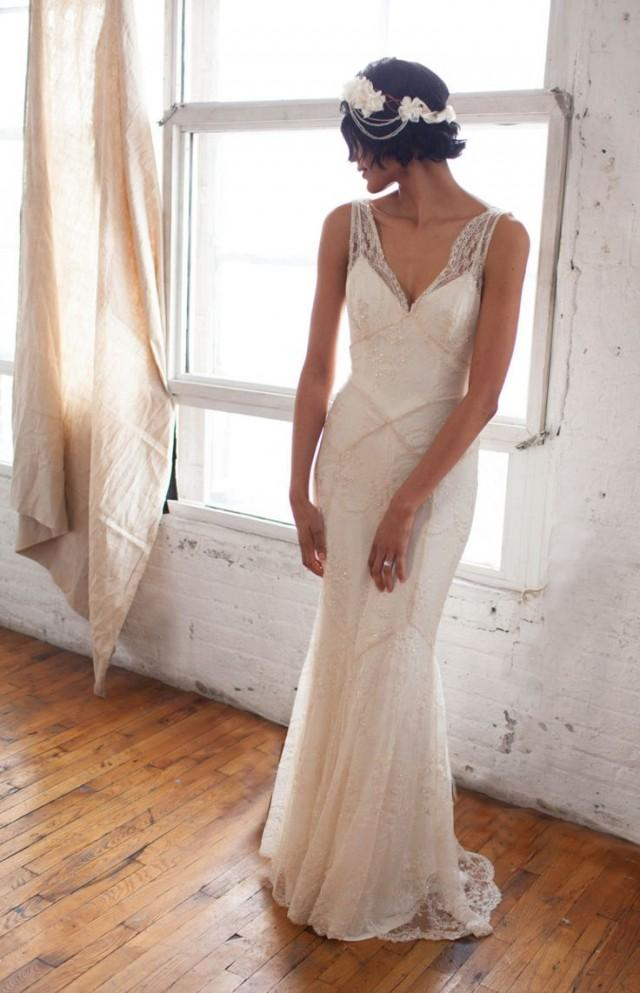 Art Deco 1930s Inspired Sleeveless Bridal Gown With Bias Silk Slip ...