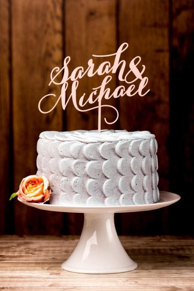 Wedding Cake Topper Custom Names Light Pink 2165848