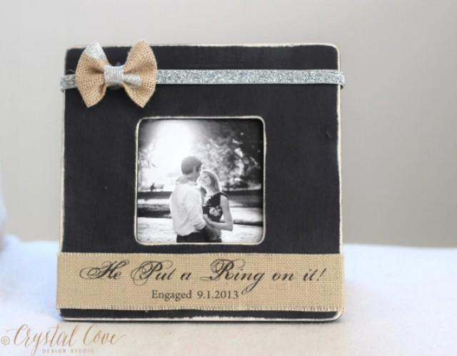 Personalized ENGAGEMENT Burlap Proposal GIFT Picture Frame