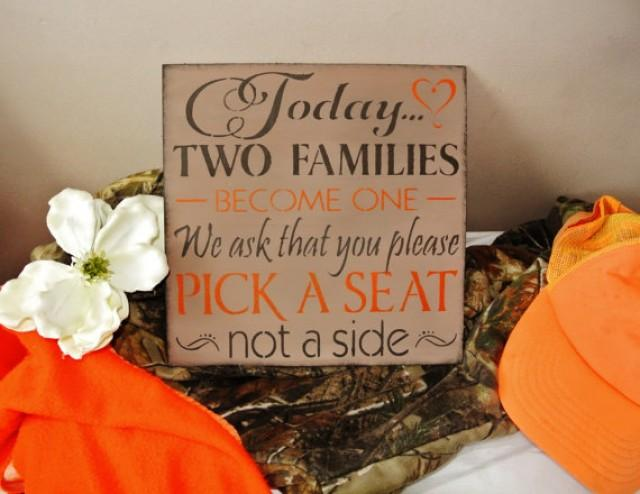 Camo Wedding Decor, Sign Today Two Families Become One