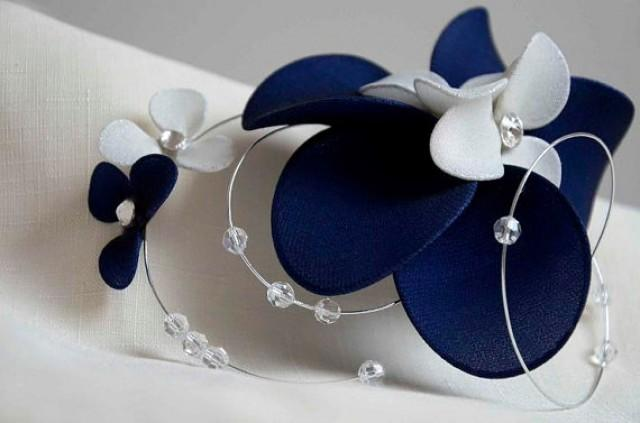 Swarovski Bridal Headpiece Navy Blue And Ivory Fascinator