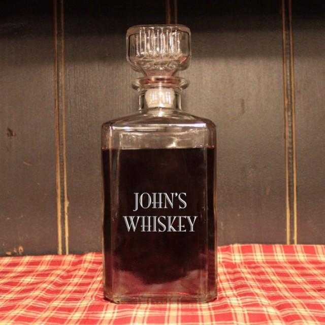 Personalized Glass Whiskey Decanter Engraved Barware