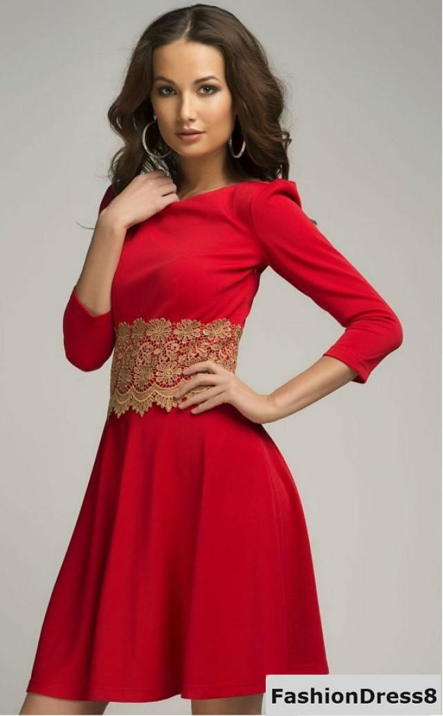 Red Formal Dress Short Evening Flared Gown With Lace