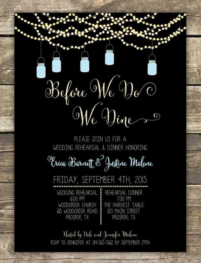 Printed Rehearsal Dinner Invitation Rustic Wedding Mason