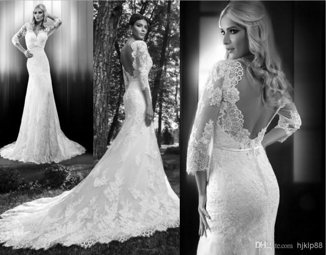 Custom 2014 New 3/4 Long Sleeve V-Neck Backless Wedding