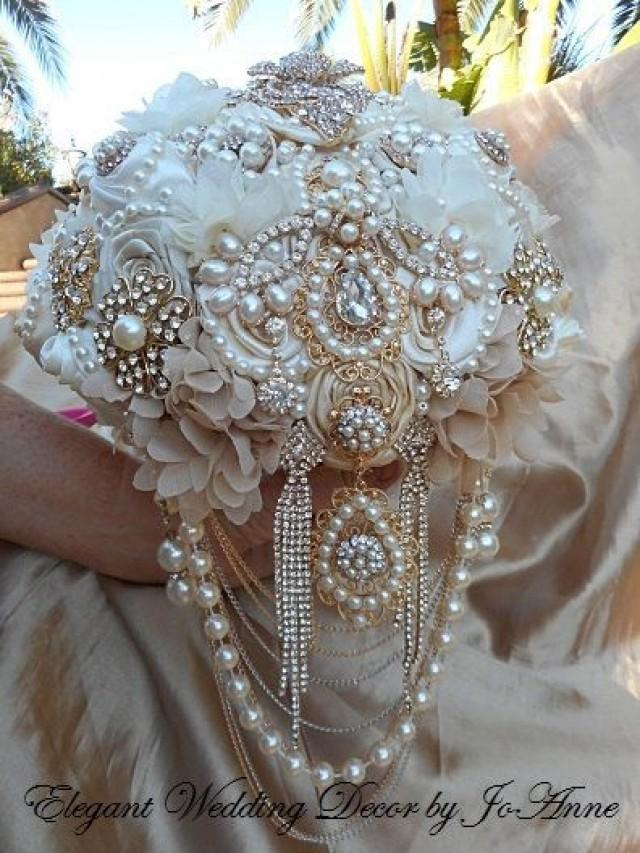 IVORY AND GOLD Elegant Brooch Bouquet Deposit For A