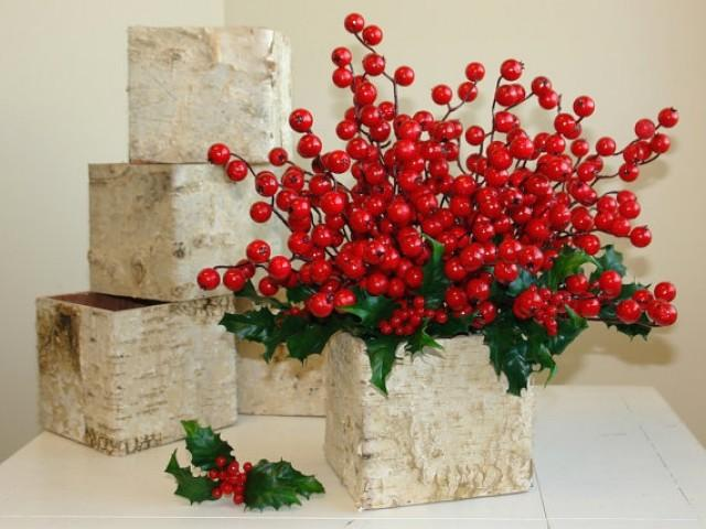 Christmas Centerpiece Birch Bark Vases Wood Boxes Square