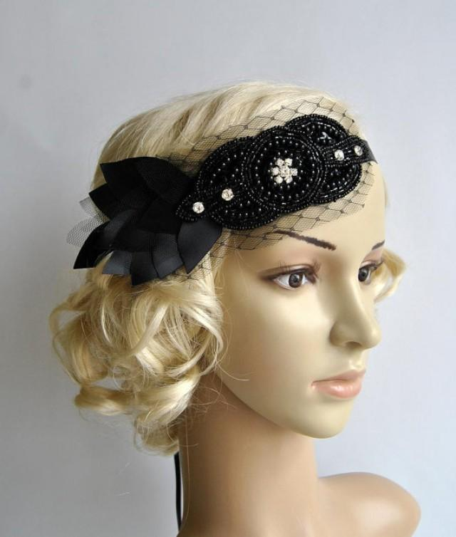 Black Petal Bandeau Bridal Headband The Great Gatsby