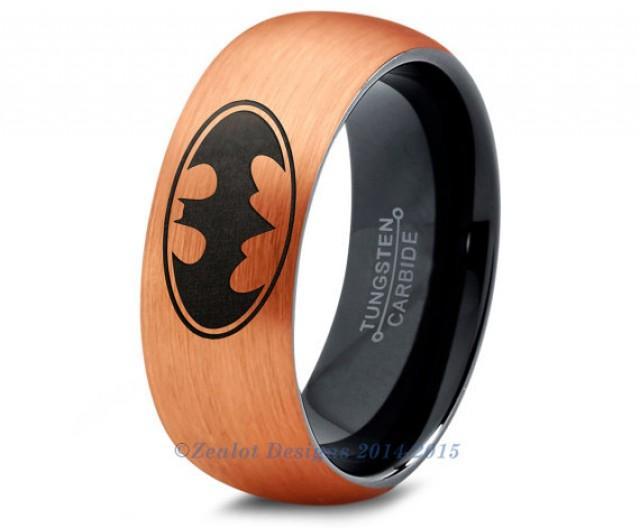 Batman Tungsten Wedding Band Ring Mens Womens Brushed Dome