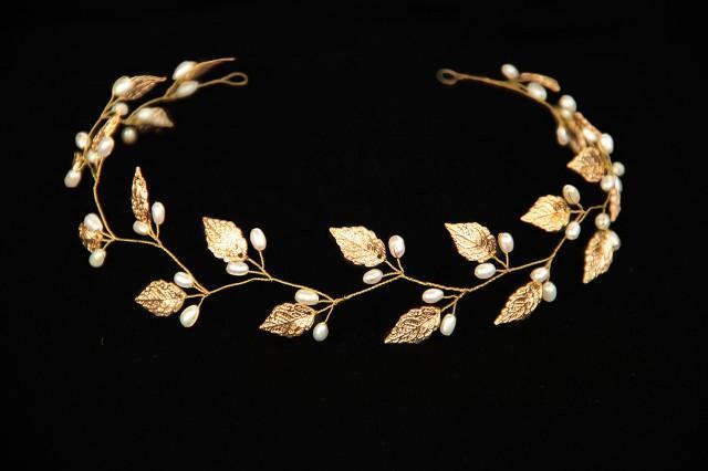 Greek Crown Gold Leaf Tiara Crystals Tiara Laurel Crown
