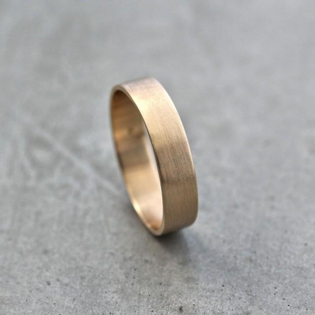Mens Gold Wedding Band Unisex 5mm Wide Brushed Flat 10k