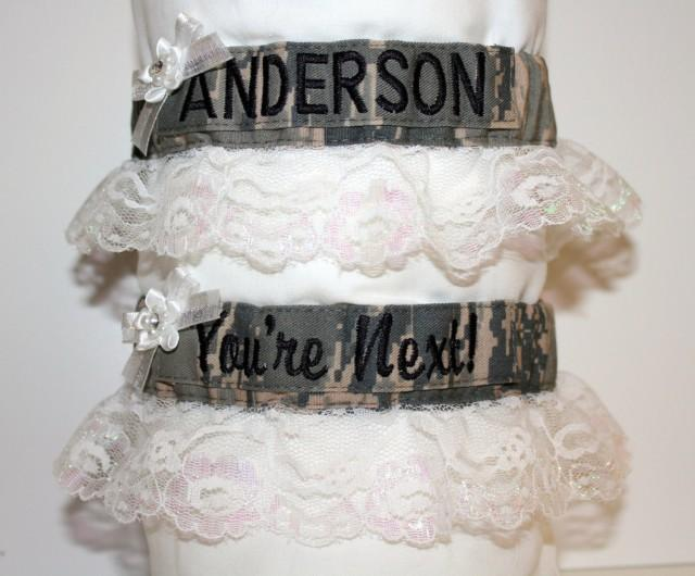Military Bridal Garters (White Lace)