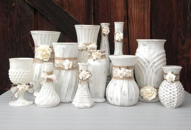 Shabby Chic Burlap And Lace, Cream White Vase Collection