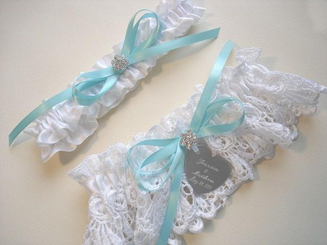 Garters, Personalized Wedding Garter Set In White Venise