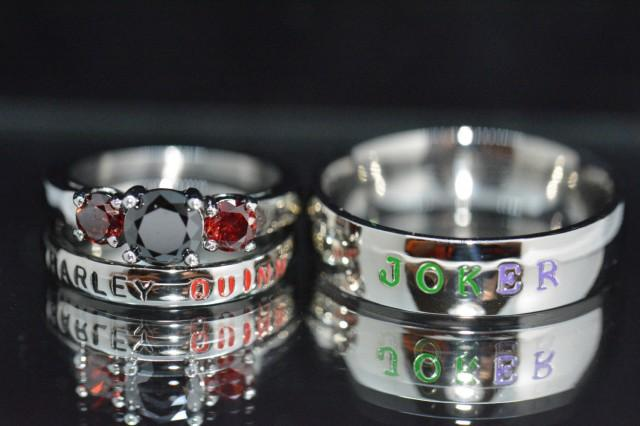 Harley And Joker Rings Black Diamond CZ And Garnet CZ