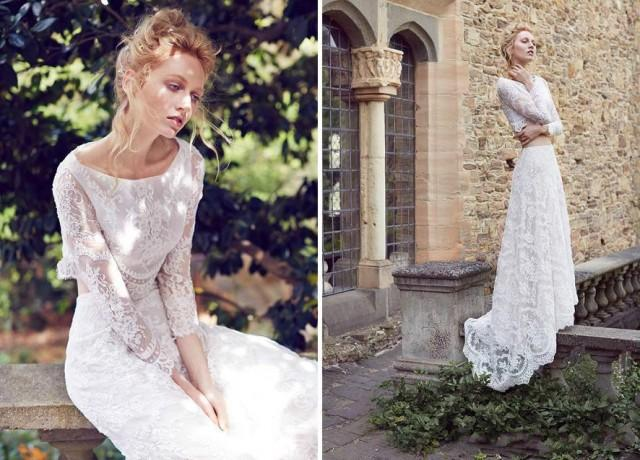 Dramatic Two Pieces Wedding Dresses Garden Long Sleeve A