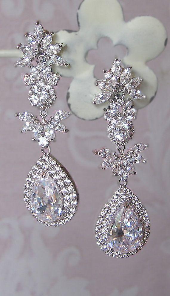 Stunning Crystal Chandelier Earrings Swarovski Rhinestone Bridal Vintage Style Leandra