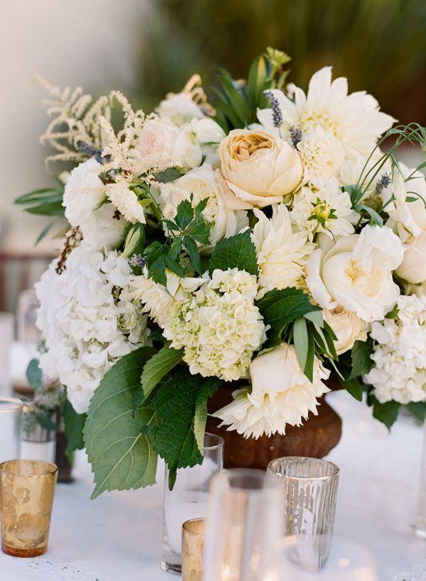 Garden Wedding Ivory And Green Garden Centerpiece