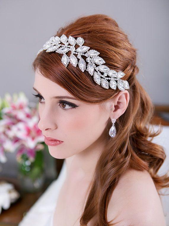 crystal leaves bridal headpiece rhinestone headband crystal bridal hair comb wedding headband bridal hair accessories hayley design
