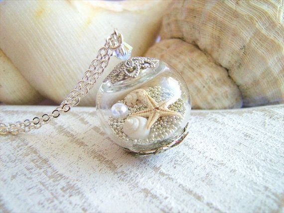 Starfish Necklace Real Seashell Jewelry Hollow Glass