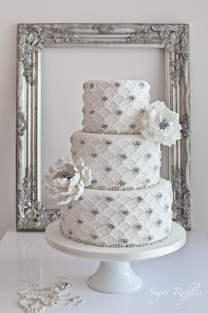 Silver Wedding   Silver Scalloped Wedding Cake  2104592   Weddbook Silver Scalloped Wedding Cake