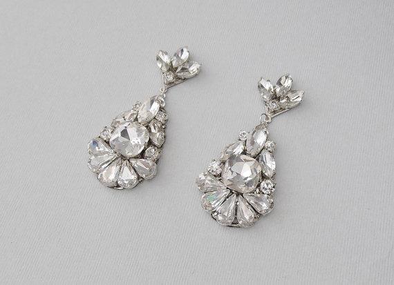 Wedding Earrings Chandelier Bridal Vintage Style Crystal Rhinestone Dangle Jewelry Deirdra