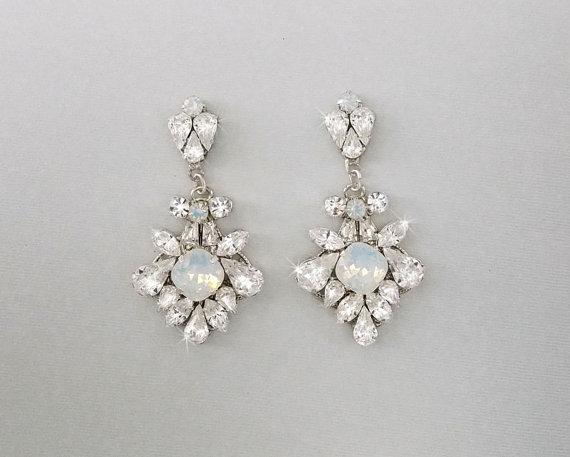 Wedding Earrings Chandelier Bridal Vintage Crystal Swarovski Crystals Opal Jewelry Mara