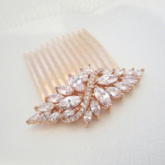 rose gold bridal hair comb wedding hair comb crystal hair comb bridal headpiece hair clip hair pin rhinestone hair accessory