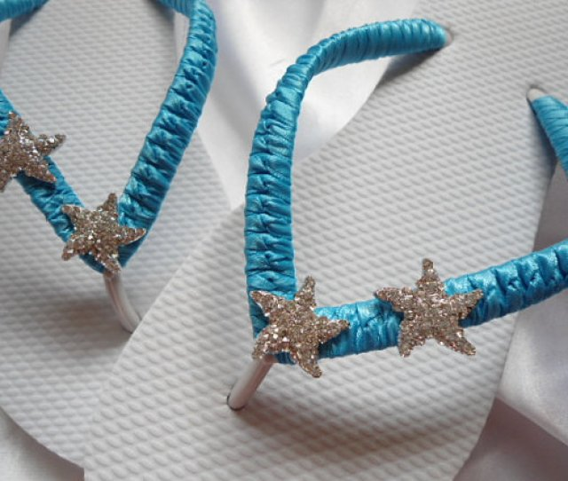 Beach Wedding Shoes Bridal Flip Flop Blue Flip Flops Starfish Wedding Flip Flops Bridesmaids Shoes Wedding Gift Starfish Blue Sandals