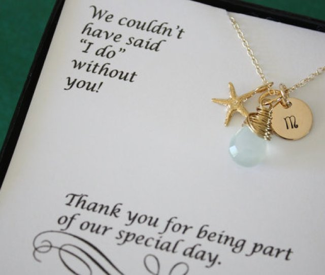 Bridesmaid Gift Personalized Gold Starfish Bridesmaid Necklace Beach Wedding Gold Gemstone Initial Jewelry Thank You Card