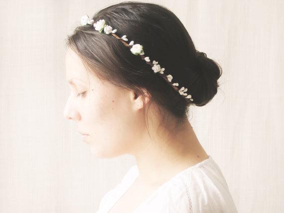 flower crown bridal halo rustic wedding hair accessories circlet floral headband maya