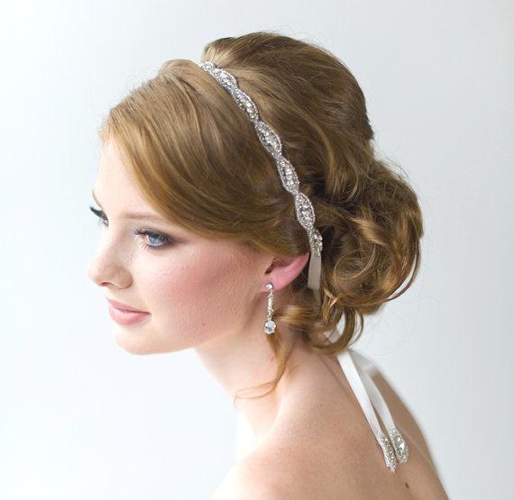 wedding hair accessory beaded headband bridal headband crystal ribbon headband