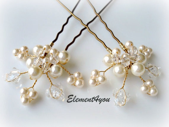 bridal hair piece wedding hair pins leaves hair vines ivory gold pearl hair pins wedding accessories white pearls crystal pins