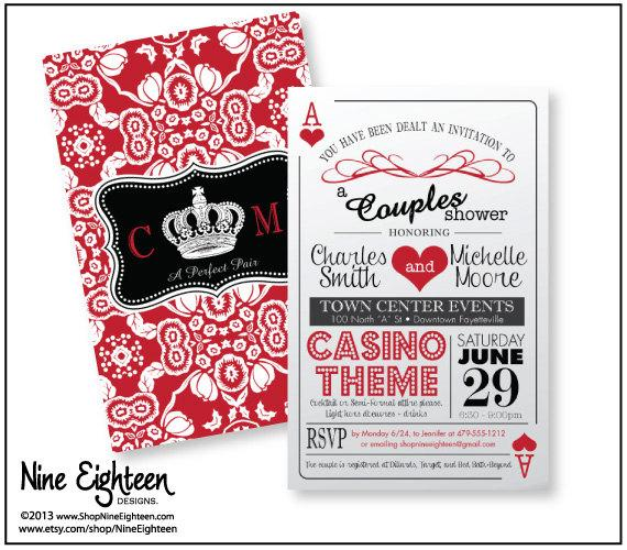 Trendy Theme S Shower Invitation 2sided Playing Cards Design Printable Hi Res Pdf Fits 6x9 Envelopes
